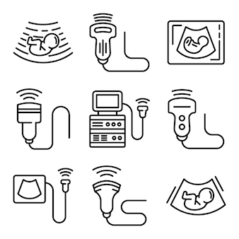 Ultrasound icons set, outline style