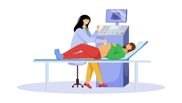 Ultrasound screening checkup of fetus flat illustration. pregnancy healthcare. pregnant woman with doctor gynecologist in clinic isolated cartoon characters on white background