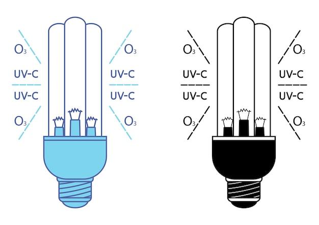 자외선과 오존으로 이중 살균된 자외선 살균 램프. 공기 및 표면의 자외선 살균. 살균 램프. 의료 오염 제거 절차. uvc 램프