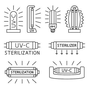 紫外線、消毒ランプ。内部にuvデバイスを備えたパッケージマーキングの案内標識。 uvランプのセット。 uv-c滅菌器および消毒装置。編集可能なストローク。ベクトル線アイコン
