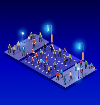 Ultraviolet neon street lamp isometric 3d illustration