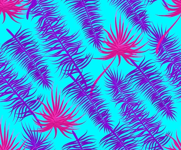 Ultraviolet semless palm leaf design vector tropical textile illustration seamless summer pattern