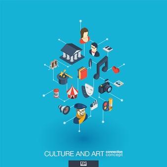 Сulture, 예술 통합 웹 아이콘. 디지털 네트워크 아이소 메트릭 상호 작용 개념. 연결된 그래픽 도트 및 라인 시스템. 극장 예술가, 음악, 서커스 쇼 빌 배경