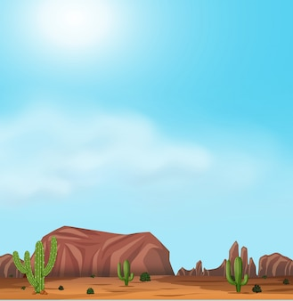 Uluru and desert on sunny day