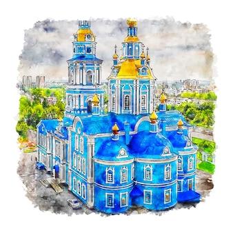 ウリヤノフスクロシア水彩スケッチ手描きイラスト