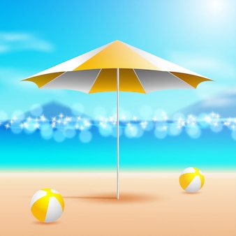 Зонт и шары у моря