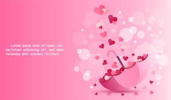 Umbrella and heart on pink color background.