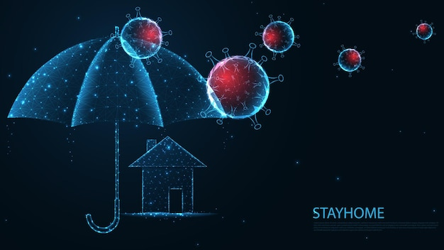 홈 아이콘 라인 연결이 있는 우산과 바이러스. 낮은 폴리 와이어 프레임 디자인. 추상적인 기하학적 배경입니다. 벡터 일러스트 레이 션.