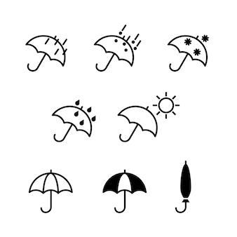 우산과 날씨 아이콘은 날씨 무늬의 평면 디자인 기호 컬렉션을 설정합니다.