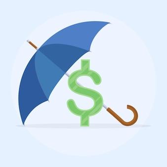 Зонтик как щит для защиты знака доллара. защита денег, сбережений. надежные и надежные инвестиции, страхование