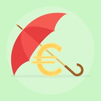 유로 기호를 보호하기 위해 방패로 우산. 보호 비용, 저축. 안전하고 안전한 투자