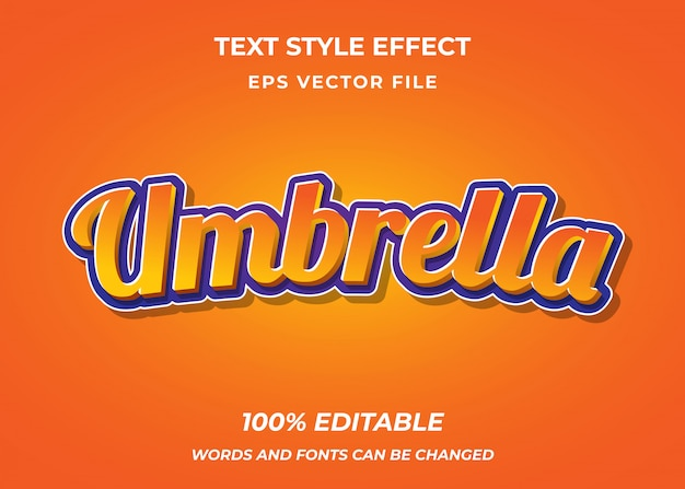Umbrella editable text style effect