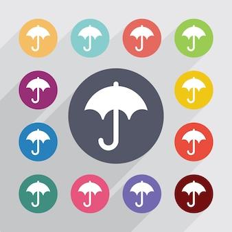 傘、フラットアイコンセット。丸いカラフルなボタン。ベクター