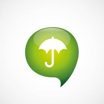 Зеленый значок зонтика думаю пузырь символ логотип, изолированные на белом фоне