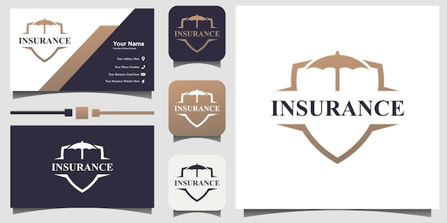 名刺テンプレートの背景と傘のロゴ保険デザインベクトル
