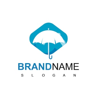 青い背景の傘のロゴのシルエット