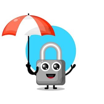Umbrella padlock cute character mascot