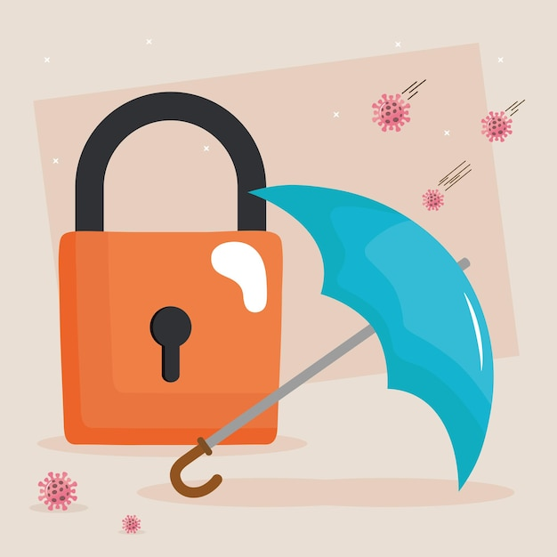 Umbrella and padlock with covid19 virus particles  illustration