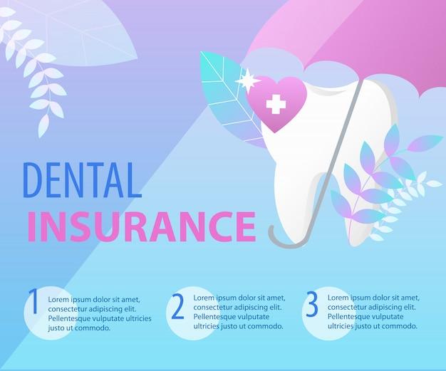 Umbrella protect tooth dental insurance concept. banner template