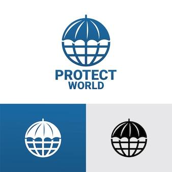 傘は世界のロゴテンプレートプレミアムベクトルを保護します