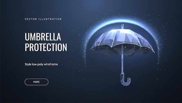 Зонт-щит. концепция защиты и изоляции от внешних факторов риска