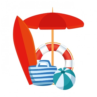 Umbrella and surfboard with summer icons