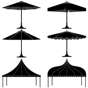 우산 텐트 전망대 캐노피 캠프 실루엣.