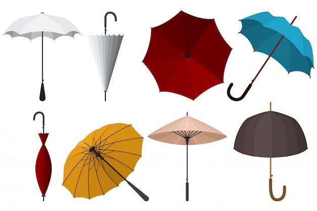 Umbrellas cartoon set isolated white