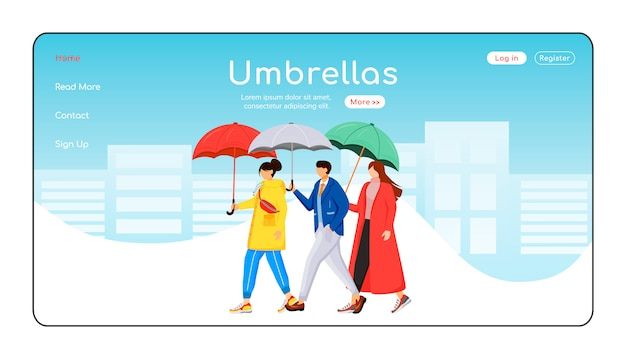 Umbrellas landing page flat color vector template. people in raincoats homepage layout. rainy weather one page website interface with cartoon character. walking crowd landing page