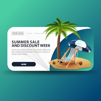 Ummer sale and discount week, horizontal banner with modern design