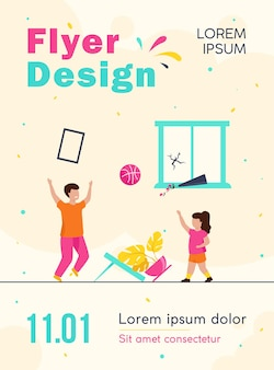 Unattended kids making chaos at home flyer template