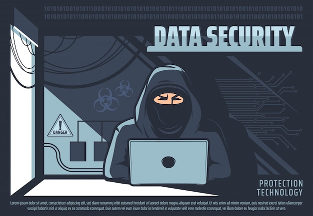 Unauthorized access to data, hacker with pc