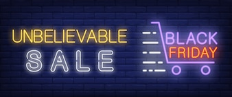 Unbelievable sale, black Friday neon text with shopping cart