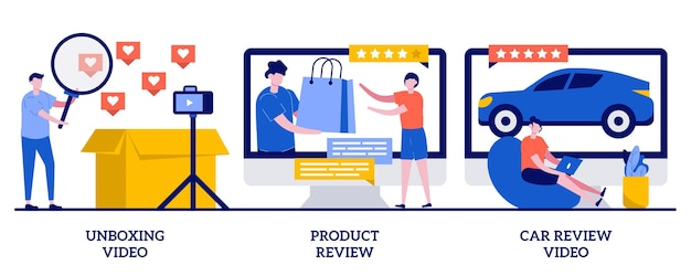 Unboxing video, product and car review illustration with tiny people