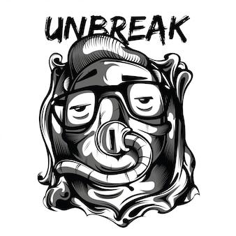 Unbreak kid black and white illustration