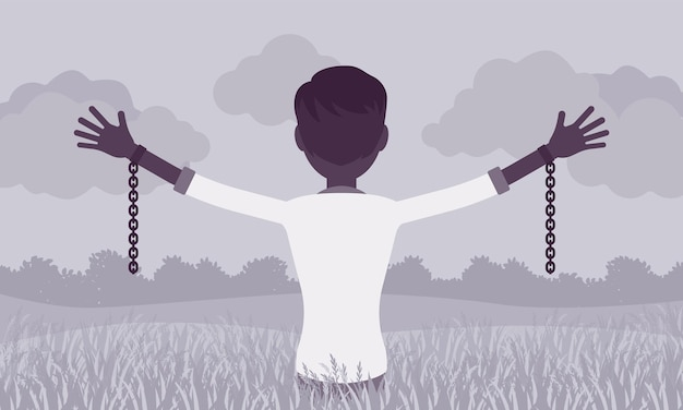 腕を伸ばした鎖のない男、背面図