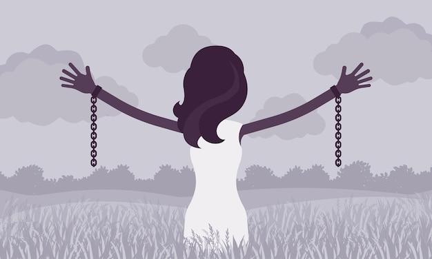 腕を伸ばした鎖のない女性、背面図