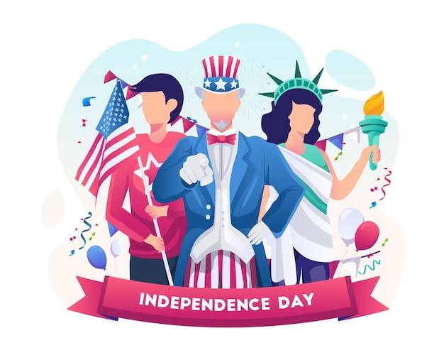 アンクルサムと自由の衣装を着た女性が独立記念日を祝う7月4日イラスト
