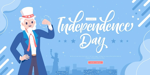 Uncle sam character usa independence day banner template
