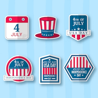 Uncle sam hat, badge, label or sticker collection on blue striped background.