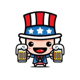 맥주를 들고 엉클 샘