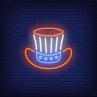 Uncle Sams hat. Neon style illustration on brick background. Independence Day