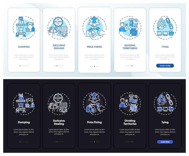 개념이있는 모바일 앱 페이지 화면을 온 보딩하는 비경쟁적인 방법