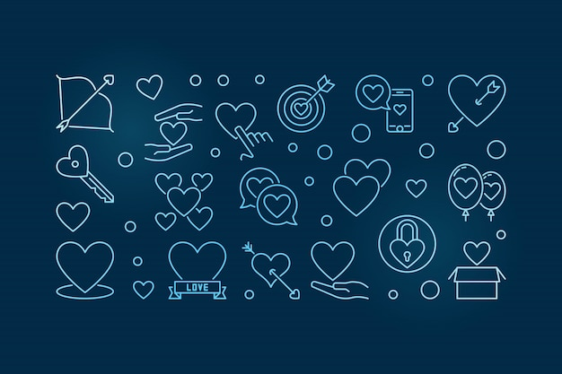 Unconditional love blue outline horizontal illustration