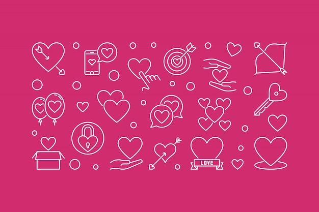 Unconditional love outline horizontal illustration