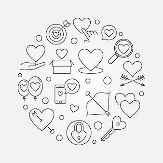 Unconditional love round outline illustration
