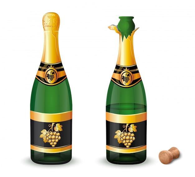 金色のブドウの房が付いたラベルが付いた、栓が付いていない閉じたシャンパンボトル。図