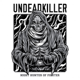 Undead killer black and white illustration