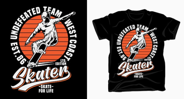 Undefeated team west coast skater typography for t shirt print