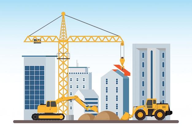 建設中建設機械による建物の作業工程。